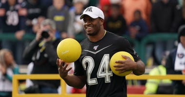 Jan 22, 2020; Kissimmee, Florida, USA; Cleveland Browns running back Nick Chubb (24) during the dodgeball competition at the Pro Bowl Skills Showdown at ESPN Wide World of Sports. Mandatory Credit: Kirby Lee-USA TODAY Sports