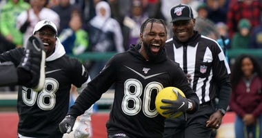 Jan 22, 2020; Kissimmee, Florida, USA; Cleveland Browns receiver Jarvis Landry (80) celebrates during the dodgeball competition at he Pro Bowl Skills Showdown at ESPN Wide World of Sports. Mandatory Credit: Kirby Lee-USA TODAY Sports
