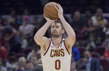 Jan 23, 2020; Cleveland, Ohio, USA; Cleveland Cavaliers forward Kevin Love (0) shoots in the third quarter against the Washington Wizards at Rocket Mortgage FieldHouse. Mandatory Credit: David Richard-USA TODAY Sports