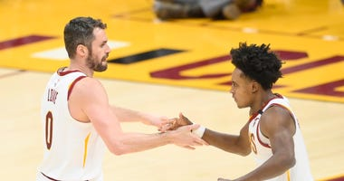 Kevin Love Collin Sexton of the Cleveland Cavaliers