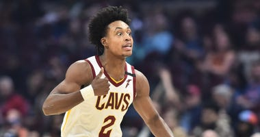 Feb 3, 2020; Cleveland, Ohio, USA; Cleveland Cavaliers guard Collin Sexton (2) celebrates after scoring against the New York Knicks during the first half at Rocket Mortgage FieldHouse. Mandatory Credit: Ken Blaze-USA TODAY Sports