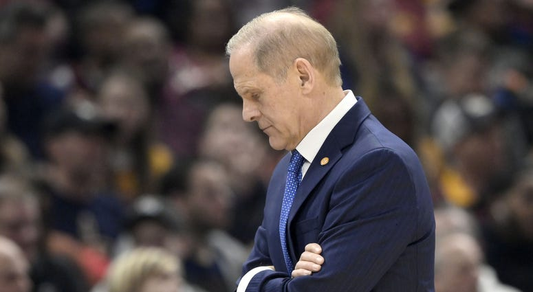 Feb 9, 2020; Cleveland, Ohio, USA; Cleveland Cavaliers head coach John Beilein reacts in the second quarter against the LA Clippers at Rocket Mortgage FieldHouse. Mandatory Credit: David Richard-USA TODAY Sports