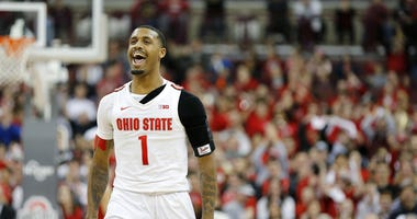 Feb 23, 2020; Columbus, Ohio, USA; Ohio State Buckeyes guard Luther Muhammad (1) reacts after hitting a three point basket during the first half against the Maryland Terrapins at Value City Arena. Mandatory Credit: Joseph Maiorana-USA TODAY Sports