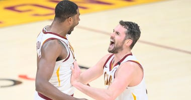 Kevin Love and Tristan Thompson of the Cleveland Cavaliers