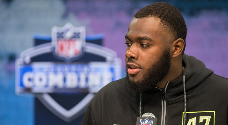 Feb 26, 2020; Indianapolis, Indiana, USA; Georgia offensive lineman Andrew Thomas (OL47) speaks to the media during the 2020 NFL Combine in the Indianapolis Convention Center. Mandatory Credit: Trevor Ruszkowski-USA TODAY Sports