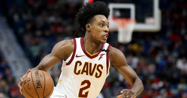 Feb 28, 2020; New Orleans, Louisiana, USA; Cleveland Cavaliers guard Collin Sexton (2) drives against the New Orleans Pelicans in the first quarter at the Smoothie King Center.