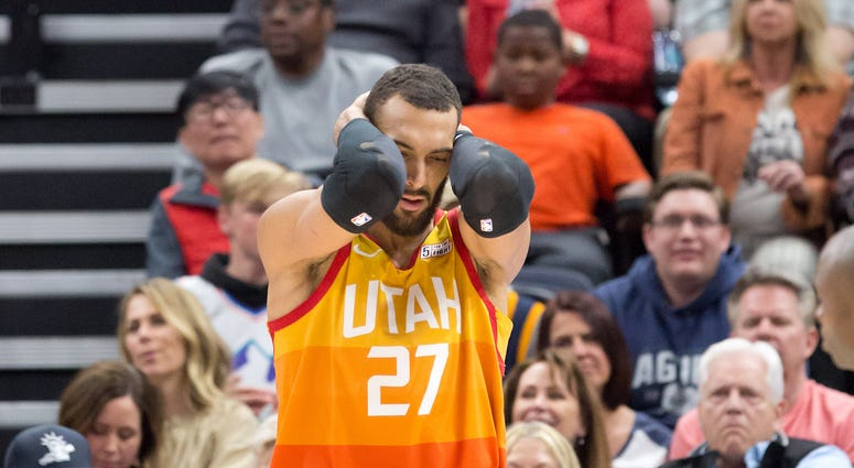Utah Jazz center Rudy Gobert (27) reacts to a call during the second half against the Toronto Raptors at Vivint Smart Home Arena.