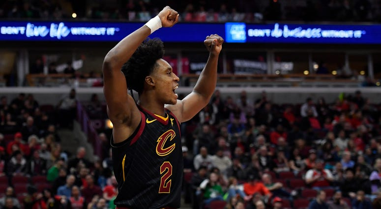 Cleveland Cavaliers guard Collin Sexton (2) reacts in the second half against the Chicago Bulls at United Center.