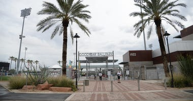 Mar 12, 2020; Goodyear, Arizona, USA; A general view of outside of the ballpark after the spring training game between the San Diego Padres and Cleveland Indians was canceled at Goodyear Ballpark. Mandatory Credit: Joe Camporeale-USA TODAY Sports