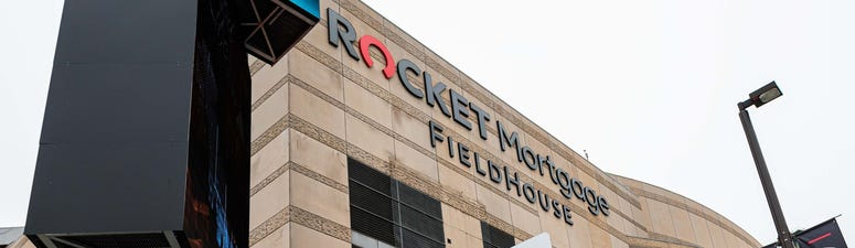 Rocket Mortgage FieldHouse, the site of the cancelled Mid-American Conference basketball tournament. The MAC, the NCAA tournament and most professional sporting events were cancelled or postponed to prevent the spread of the Covid-19 coronavirus.
