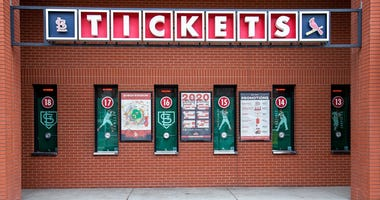 Mar 15, 2020; St. Louis, Missouri, USA; A general view of a ticket window at Busch Stadium which is home of the Saint Louis Cardinals. Major League Baseball has postponed the start of the 2020 baseball season due to the COVID-19 pandemic.