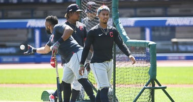 Jul 6, 2020; Cleveland, Ohio, United States; Cleveland Indians shortstop Francisco Lindor leaves the field after batting practice at Progressive Field.