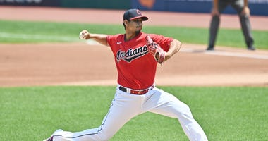 CLEVELAND, OHIO - JULY 26: Starting pitcher Carlos Carrasco #59 of the Cleveland Indians pitches during the first inning against the Kansas City Royals at Progressive Field on July 26, 2020 in Cleveland, Ohio. The 2020 season had been postponed since Marc