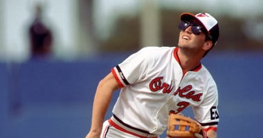 Mar 1989; Miami, FL, USA; Billy Ripken of the Baltimore Orioles in spring training action againt the New York Mets at Miami Stadium