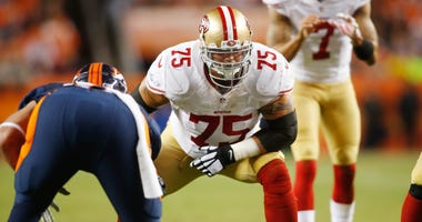San Francisco 49ers guard Alex Boone (75) during the game against the Denver Broncos at Sports Authority Field at Mile High.