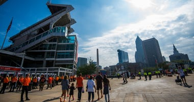 General view of FirstEnergy Stadium and downtown Cleveland before the game between the Cleveland Browns and the Baltimore Ravens.