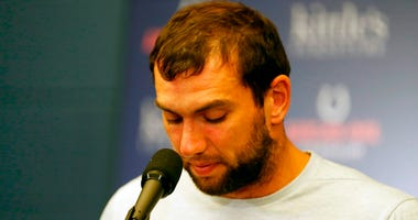 Aug 24, 2019; Indianapolis, IN, USA; Indianapolis Colts quarterback Andrew Luck announces his retirement in a press conference after the game against the Chicago Bears at Lucas Oil Stadium.
