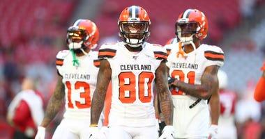Browns wide receivers Odell Beckham Jr., Jarvis Landry and Rashard Higgins