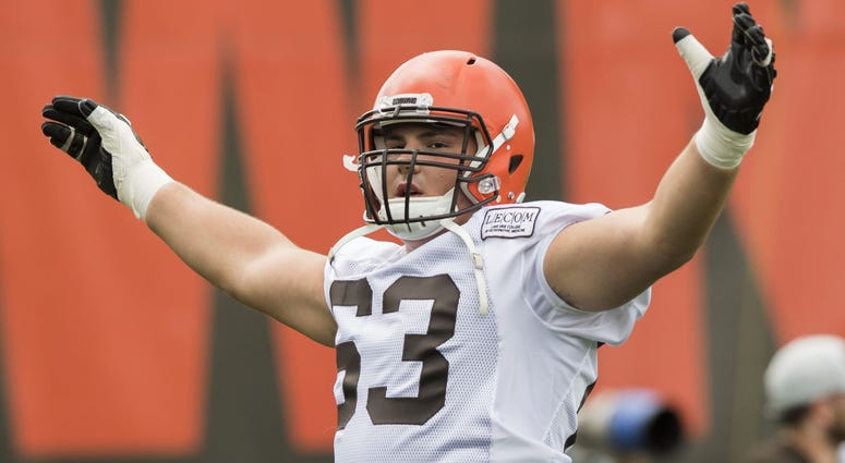 Jul 27, 2018; Berea, OH, USA; Cleveland Browns offensive guard Austin Corbett (63) stretches during training camp at the Cleveland Browns Training Complex. Mandatory Credit: Ken Blaze-USA TODAY Sports