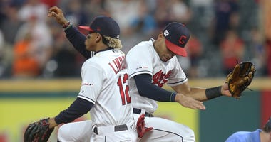 Indians shortstop Francisco Lindor and center fielder Oscar Mercado