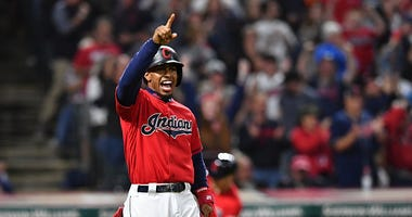 Francisco Lindor of the Cleveland Indians celebrates a big play.