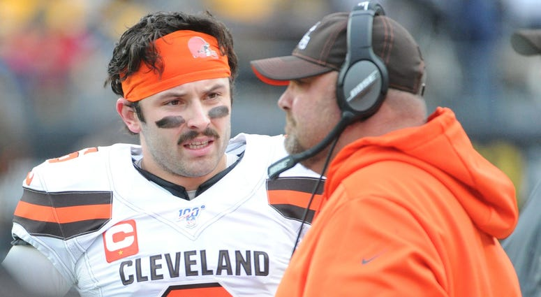 Browns quarterback Baker Mayfield and head coach Freddie Kitchens