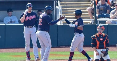 Indians outfielders Franmil Reyes and Oscar Mercado