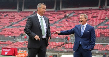 FOX Sports host Rob Stone and Urban Meyer