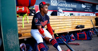 Mar 8, 2018; Goodyear, AZ, USA; Cleveland Indians shortstop Francisco Lindor against the Los Angeles Dodgers during a Spring Training game at Goodyear Ballpark. Mandatory Credit: Mark J. Rebilas-USA TODAY Sports