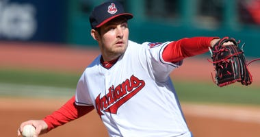 Apr 7, 2018; Cleveland, OH, USA; Cleveland Indians starting pitcher Trevor Bauer (47) delivers in the second inning against the Kansas City Royals at Progressive Field.