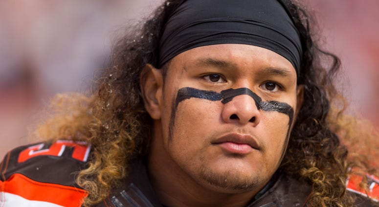 Oct 9, 2016; Cleveland, OH, USA; Cleveland Browns nose tackle Danny Shelton (55) before the game against the New England Patriots at FirstEnergy Stadium. The Patriots won 33-13. Mandatory Credit: Scott R. Galvin-USA TODAY Sports