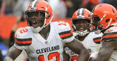 Cleveland Browns Josh Gordon celebrates his fourth quarter touchdown against the Pittsburgh Steelers on Sunday, Sept. 9, 2018 at FirstEnergy Stadium in Cleveland, Ohio. The game ended in a 21-21 tie.