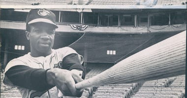 Baltimore Orioles player Frank Robinson takes a swing in this 1966 photo. (Photo by William LaForce/Baltimore Sun/TNS/Sipa USA)
