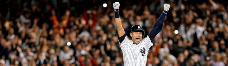 Derek Jeter jumps after hitting the game-winning single against the Baltimore Orioles in the ninth inning of a baseball game, in New York. Jeter is among 18 newcomers on the 2020 Hall of Fame ballot. On Tuesday, Jan. 21, the Baseball Writers' Association