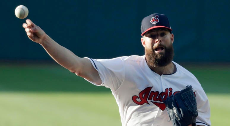 Cleveland Indians starting pitcher Corey Kluber delivers in the first inning of a baseball game against the Milwaukee Brewers, Tuesday, June 5, 2018, in Cleveland.
