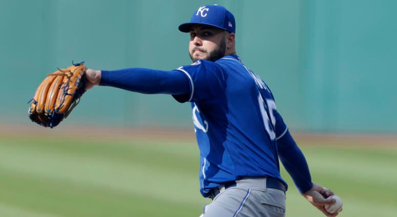 Kansas City Royals starting pitcher Jakob Junis delivers in the first inning of a baseball game against the Cleveland Indians, Monday, Sept. 3, 2018, in Cleveland.