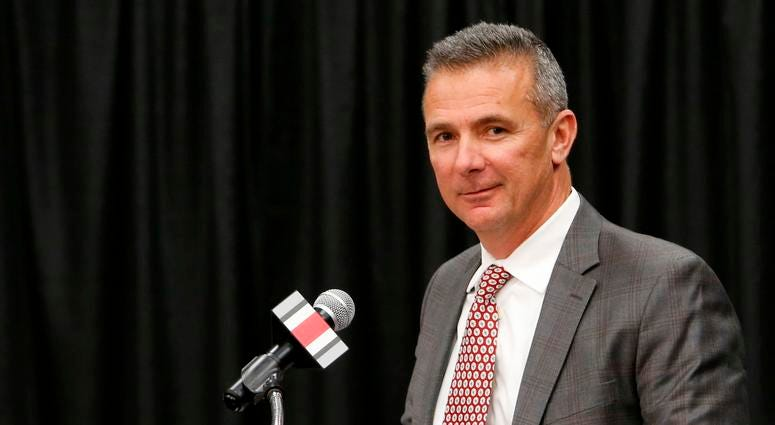 Ohio State NCAA college football head coach Urban Meyer answers questions during a news conference announcing his retirement Tuesday, Dec. 4, 2018, in Columbus, Ohio