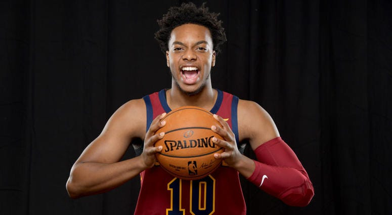 NDEPENDENCE, OHIO - SEPTEMBER 30: Darius Garland #10 of the Cleveland Cavaliers during Cleveland Cavaliers Media Day at Cleveland Clinic Courts on September 30, 2019 in Independence, Ohio.