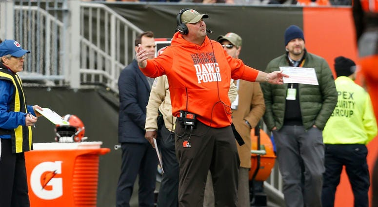 CLEVELAND, OH - NOVEMBER 10: Head coach Freddie Kitchens of the Cleveland Browns argues a call during the third quarter of the game against the Buffalo Bills at FirstEnergy Stadium on November 10, 2019 in Cleveland, Ohio. Cleveland defeated Buffalo 19-16.
