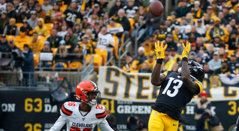 PITTSBURGH, PA - DECEMBER 01: James Washington #13 of the Pittsburgh Steelers makes a catch against Greedy Williams #26 of the Cleveland Browns in the first half on December 1, 2019 at Heinz Field in Pittsburgh, Pennsylvania. (Photo by Justin K. Aller/Get