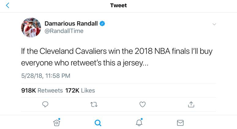 A screen shot of a tweet sent by Browns cornerback Damarious Randall that has received national attention