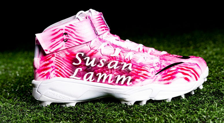 Kendall Lamm American Cancer Society;  Breast cancer cleats