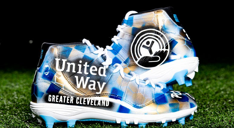 Damarious Randall - United Way of Greater Cleveland;  Stuttering Association for the Young cleats
