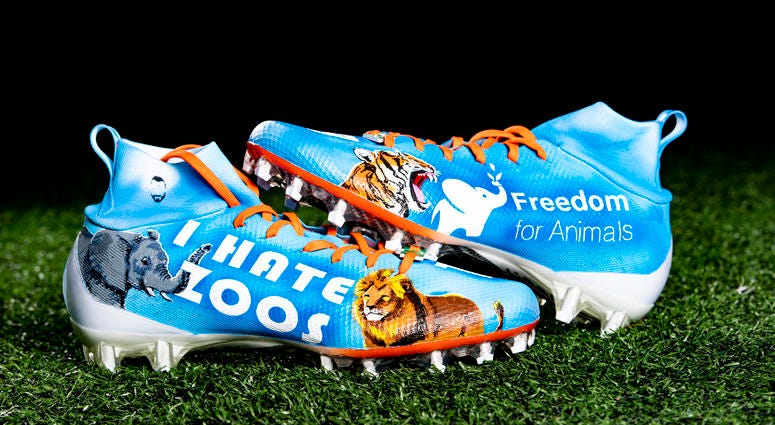 Damion Ratley Freedom for Animals cleats