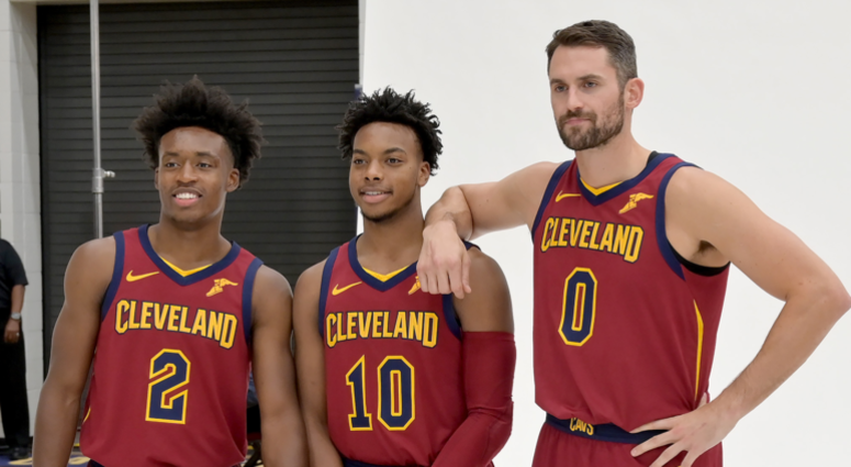 INDEPENDENCE, OHIO - SEPTEMBER 30: Collin Sexton #2 Darius Garland #10 and Kevin Love of the Cleveland Cavaliers during Cleveland Cavaliers Media Day at Cleveland Clinic Courts on September 30, 2019 in Independence, Ohio. NOTE TO USER: User expressly ackn