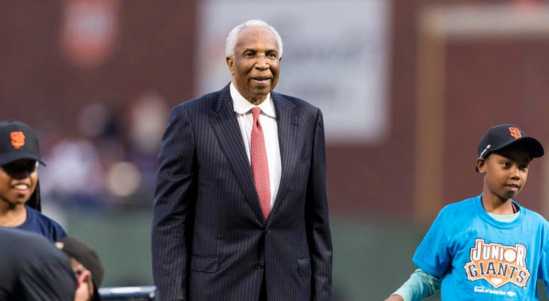 Sep 13, 2017; San Francisco, CA, USA; Baseball legend Frank Robinson stands on the mound before the game between the San Francisco Giants and the Los Angeles Dodgers at AT&T Park. Mandatory Credit: John Hefti-USA TODAY Sports
