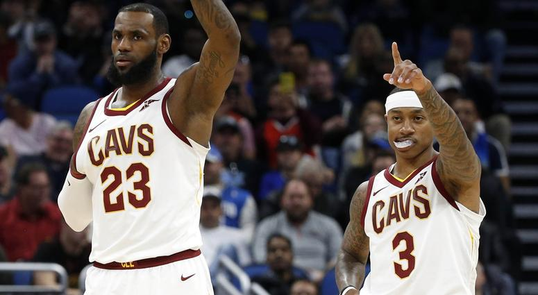 Jan 6, 2018; Orlando, FL, USA; Cleveland Cavaliers forward LeBron James (23) and guard Isaiah Thomas (3) react during the first quarter against the Orlando Magic at Amway Center. Mandatory Credit: Kim Klement-USA TODAY Sports