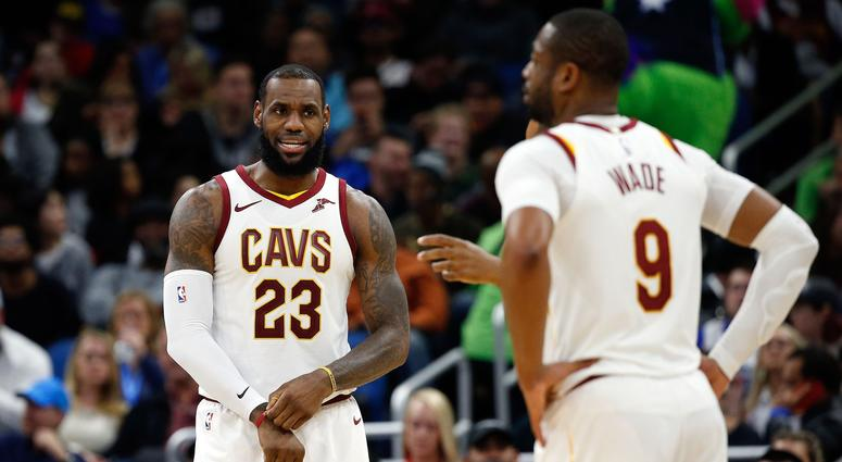 Jan 6, 2018; Orlando, FL, USA; Cleveland Cavaliers forward LeBron James (23) and Cleveland Cavaliers guard Dwyane Wade (9) during the second quarter at Amway Center. Mandatory Credit: Kim Klement-USA TODAY Sports