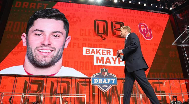 NFL commissioner commissioner Roger Goodell walks off stage as Baker Mayfield is selected as the number one overall pick to the Cleveland Browns in the first round of the 2018 NFL Draft at AT&T Stadium