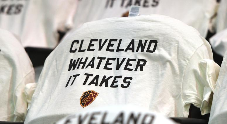 T-shirts line the seats before game six of the Eastern conference finals of the 2018 NBA Playoffs at Quicken Loans Arena.